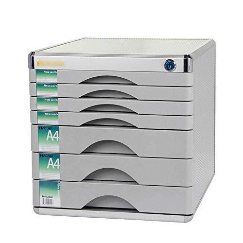 Inicio Equipos Caja de almacenamiento de archivos de escritorio Armario de escritorio de 7 cajones con cerradura Archivador de almacenamiento de plástico Estante de archivos Caja de almacenamiento