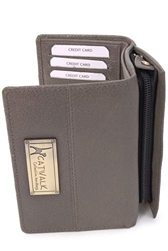 CATWALK COLLECTION HANDBAGS - Ladies Mid-Size Organiser Trifold Purse With Gift Box - Real Leather with RFID Protection - Credit Card Wallet With Zip Coin Compartment - VICTORIA - Grey - RFID