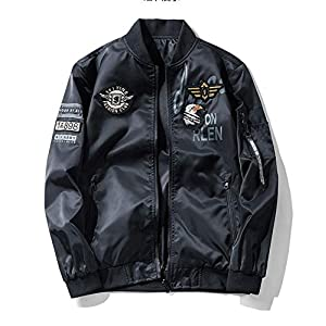 ミリタリージャケット 両面着 ブルゾン MA-1刺繍ワッペン カジュアル ジャンパー フライトジャケット ブラック XXL