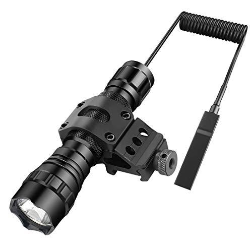 Lampe torche tactique à LED avec hauts lumens, résistance à l'eau, dragonne à interrupteur, 1 piles rechargeables et chargeur pour chasse et camping