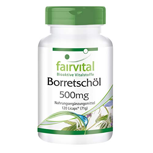L'huile de bourrache 500mg - pendant 2 mois - végan - dose élevée - 120 Licaps - riche en acide gamma linolénique (oméga-6)