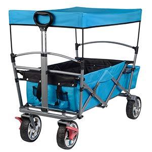 EUGAD Bollerwagen faltbar klappbar Transportkarre Handwagen mit Dach und Bremse für Camping Einkaufen belastbar bis 80kg, Türkis