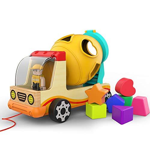 TOP BRIGHT Betoniarka drewniana dla dzieci, do samochodów ciężarowych od 1 roku życia, zabawka drewniana na 1 rok dla chłopca