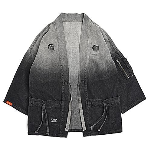 TSTZJ Chaqueta de cárdigan de Kimono de los Hombres, Degradado de algodón Retro de los Hombres Denim Camisa de Mezclilla Capa de la Capa Delantero Abierto Abrigo Corto de un botón Cardigan Kimono