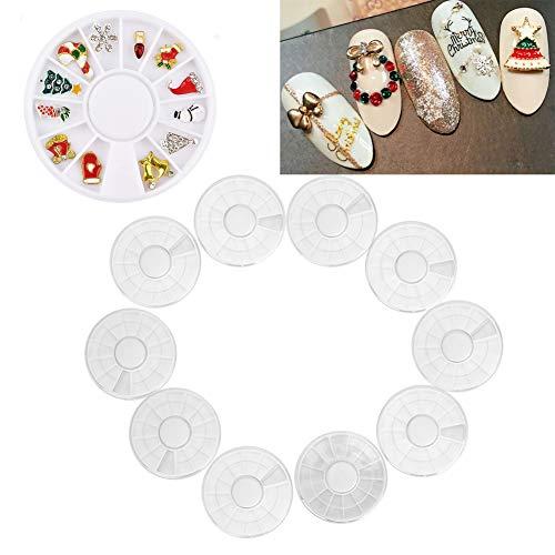 Nail Art décoration boîte de rangement 10 pcs perles strass conteneur de stockage 12 grilles boîte de roue vide, pour magasin nail art décoration perles/strass/gem//bijoux