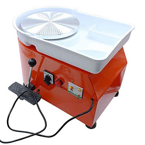 JFF Máquina De Rueda De Cerámica Eléctrica De 25 CM, Herramientas De Arcilla DIY, Máquina Formadora De Trabajo De Cerámica con Pedal De Palanca Ajustable, Lavabo ABS Extraíble,Naranja