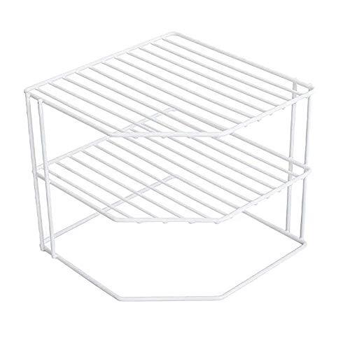 WY-YAN 3-Tier Esquina cocina estante-estructura de metal resistente a la corrosión-Acabado-Copas, platos, Gabinete y despensa Organización-cocina (9 x 8 pulgadas) [Blanco]