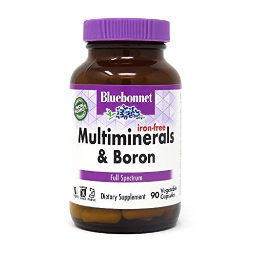 Bluebonnet Multi Mineral Plus Boron Vegetarian Capsules without Iron, 90 Count