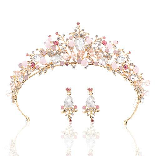 Handcess Corona de boda y tiaras con diamantes de imitación rosados con...