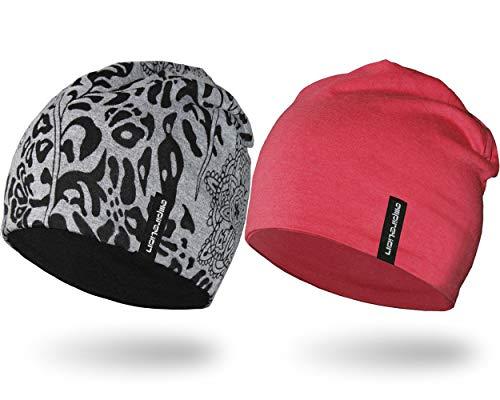 EMPIRELION Lightweight Beanies Hats for Men Women Running Skull Cap Helmet Liner Sleep Caps (Burnout A+Rouge Red Mel, 2)