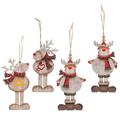 KESYOO 4 Peças de Enfeites de Natal de Rena Alces de Madeira Renas de Natal Ãrvore de Natal Enfeites Pendurados Enfeites de Natal Tag para Loja de Bar Em Casa