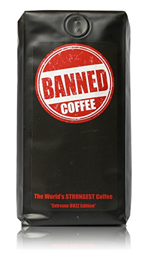 Banned Coffee Ground World's Strongest Coffee - Super Strong Caffeine Content - Our Best Flavor Medium Dark Roast (Ground, 10 oz)