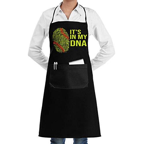WH-CLA Delantal De Chef Softbol It 'S In My DNA Painting Delantal De Chef Delantal De Cocina Día De La Madre Ajustable Mujeres con Bolsillos Hombre Patrón Delantal De Cocina Unisex Perso