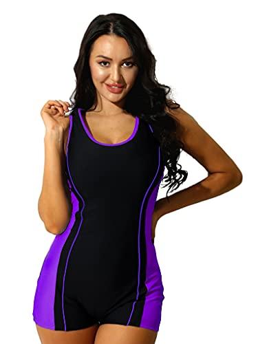 Mufeng Maillot de Bain 1 Pièce Femme Tankini Anti-UV Combinaison de Plongée Tenue de Plage Surf Natation Shorty Vêtements de Sport Eté Justaucorps Yoga Gym Swimsuit S-XXL Violet S