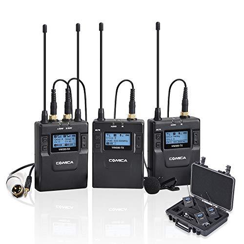 Comica CVM-WM300A Sistema de micrófono de solapa lavalier inalámbrico doble UHF profesional de 96 canales para Canon Nikon Sony Cámaras DSLR Panasonic, Videocámara XLR, Smartphone, etc.