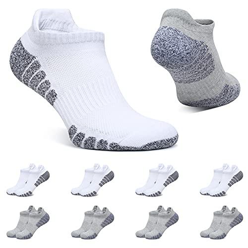 BUTTBILL Calcetines Tobilleros Hombre Blanco Gris Claro 43-46 Calcetines Mujer Cortos 8 Pares Deportivos Algodon Transpirables
