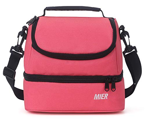 MIER 2 Compartment Kids Small Lunch Box Bag for Boys Girls Toddlers, Adult Leakproof Cooler Insulated Lunch Tote with Shoulder Strap (Pink)
