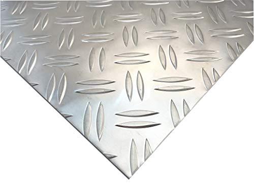 Alu Riffelblech 1,5/2mm Aluminium Blech Duett Warzenblech Tränenblech Zuschnitt Wunschmaß möglich (800mm x 400mm)