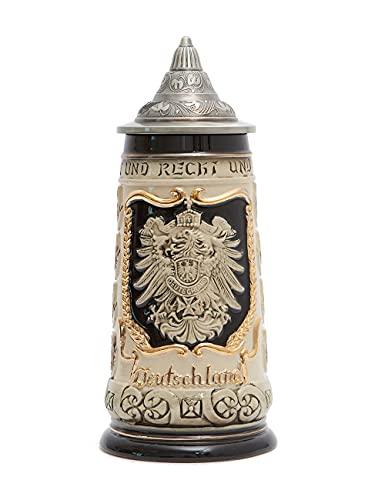 Amoy-Art Boccale da Birra Tedesco Beer Stein Mug con Coperchio Germania Stemma dei Stati Federali per Regalo Giftbox 0.8Litre