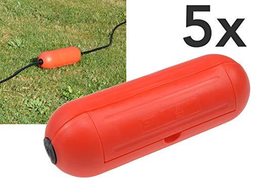 Outdoor Sicherheitsbox IP44 Schutzbox 5Stück Rot Safe-Box für Kabelverbindung Spritzwasserschutz Schutzkaspel für Verlängerungskabel und Stromstecker im Aussenbereich