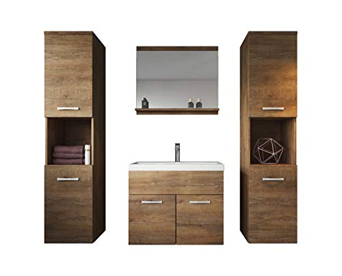 Badezimmer Badmöbel Set Montreal XL 60 cm Waschbecken Lefkas - Unterschrank Hochschrank Waschtisch Möbel