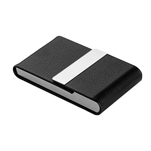 Estuche de cigarrillos portátil de lujo ultrafino de imitación de lujo de acero inoxidable con bolsillo de tarjeta de visita - Negro: Amazon.es: Oficina y papelería