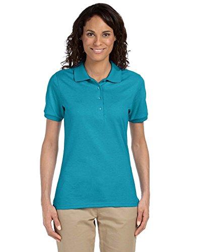 Jerzees womens 5.6 oz. 50/50 Jersey Polo with SpotShield(437W)-CALIFORNIA BLUE-L