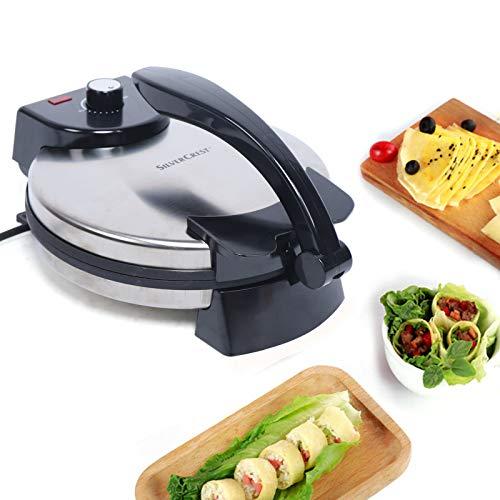 220V 1800W Crepera,Quesadilla y Tortilla Maker Tortilla,Tortilla Chef con doble superficie para hornear,Tortilla y roti,Calentamiento por dos lados,Revestimiento antiadherente,Aprox. 320*250*70 mm