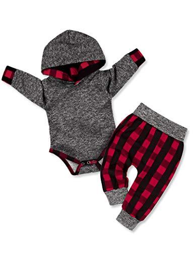 Newborn Baby Boy Clothes Plaid Letter Print Long Sleeve Hoodies + Long...