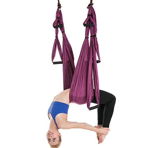 WOERD Kit trapecio para yoga y columpio de interior, para deportes, para yoga aéreo, ejercicios de inversión, con 2 correas de extensión, color morado oscuro