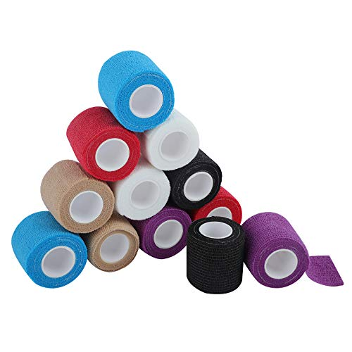 Venda cohesiva de 5 cm x 4.5 m, vendas autoadhesiva para esguinces e hinchazón, Suministros Médicos de Primeros Auxilios para Protección Deportiva (Multicolor)