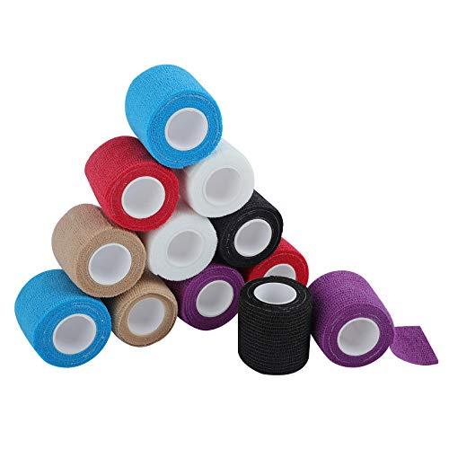 SUPERBE Selbsthaftende Bandage 5 x 450 cm (12 Rollen), Fixierbinde Selbsthaftend für Verstauchungen und Schwellungen, medizinisches Versorgungsmaterial für Erste Hilfe und Schutz beim Sport