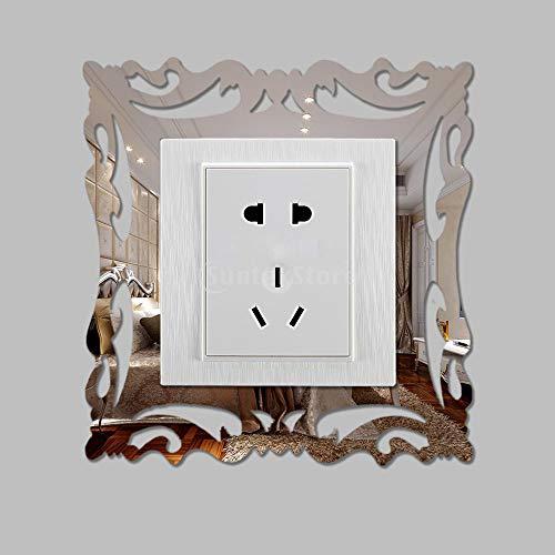 Fautly Spiegel-Lichtschalter-Aufkleber, 4 Stück, Acryl-Wandaufkleber, Surround-Aufkleber für Küche, Kinder, Heimdekoration, DIY 3D Kunst Aufkleber (E)