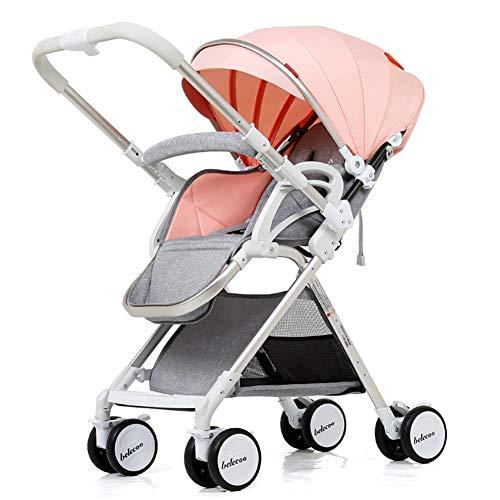 JCOCO Cochecito de Bebé Mango Reversible Puede Sentarse y Acostarse Ligero Plegable Amortiguador Infantil 0-3 Años de Edad Carro de Empuje (color : Pink (1))