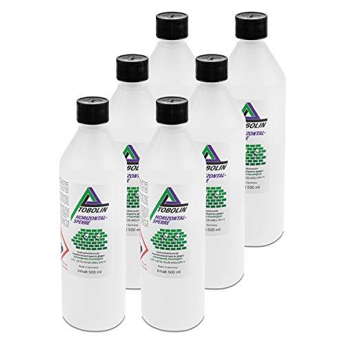Tobolin Horizontalsperre 6 x 500mL + 6 x Injektionsaufsatz ~ 4 Flaschen/Meter – Verkieselungsmittel zur Mauerwerkstrockenlegung & Horizontalsperre - hocheffektiv gegen aufsteigende Feuchtigkeit