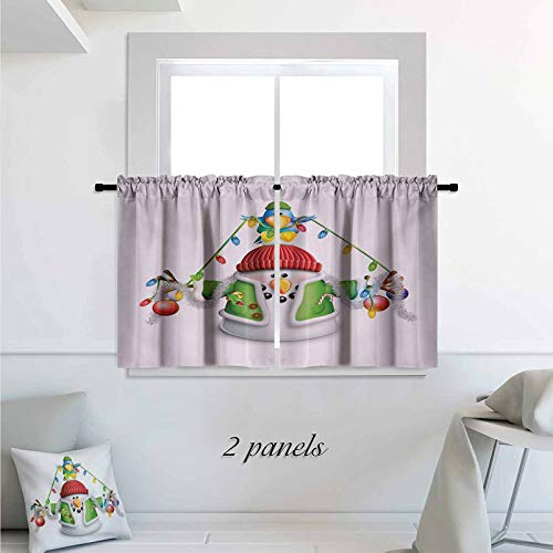 Snowman Short Thick Cafe Curtain Cartoon Whimsical Character with Christmas Garland Blue Bird Various Xmas Elements Print Rod Pocket Small Window Curtain for Bathroom 30 x 45 inch Multicolor