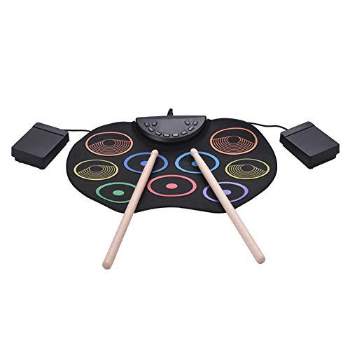 KiMiLIKE Batería electrónica portátil enrollada a mano USB tambor electrónico de color de tambor enrollado a mano conjunto de principiante de los niños instrumento de percusión para niños regalo