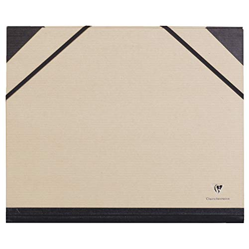 Clairefontaine 44000C Cartera Carpeta con elástico Correa Spine 30 mm Kraft Papel DIN A4 Interna 24 x 32 cm externa 26 x 33 cm Marrón