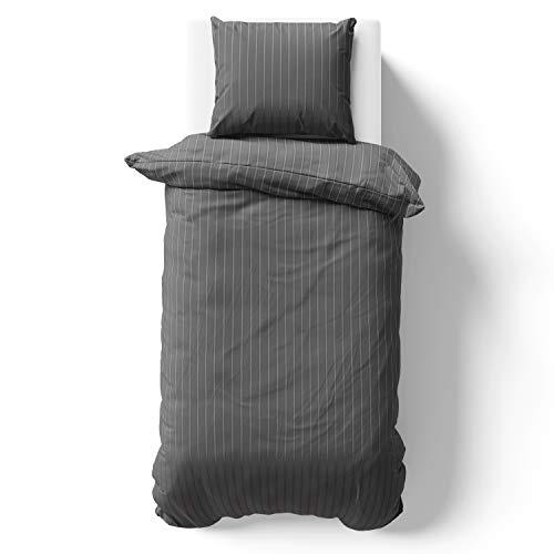 Alreya Mako Satin sängkläder 155 x 220 cm antracit ränder – 100 % bomull med YKK dragkedja, supermjukt påslakan, endast påslakan