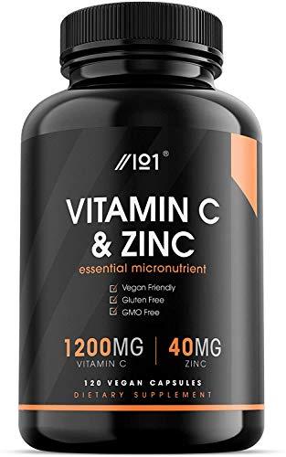 Vitamin C 1200mg & Zinc 40mg - 120 Vegan Capsules - Immune Support - Non-GMO (1 Pack)