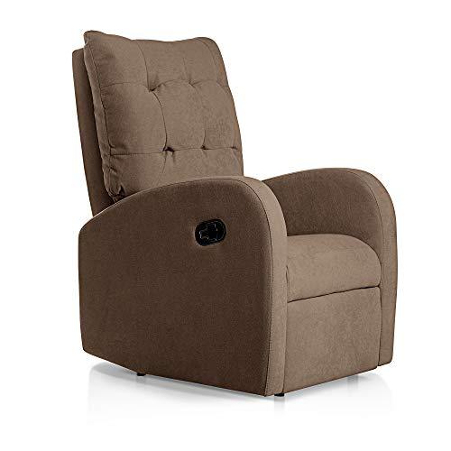 SUENOSZZZ-ESPECIALISTAS DEL DESCANSO Sillon Relax orejero reclinable Soft tapizado en Tela Antimanchas Marron