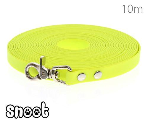 SNOOT Schleppleine 10m Neon-Gelb - zugfeste, schmutz- und Wasserabweisende Hundeleine mit einem Karabiner