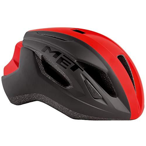 MET Strale Fahrrad Helm Rennrad Komfort Style MBT Road Bike Belüftet Rad Sport Inmould, 570014, Farbe Rot Schwarz, Größe M