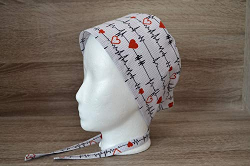 OP-Haube, OP-Hauben, Scrub Cap, Bandana, Peelingmütze, weiß mit EKG, handmade