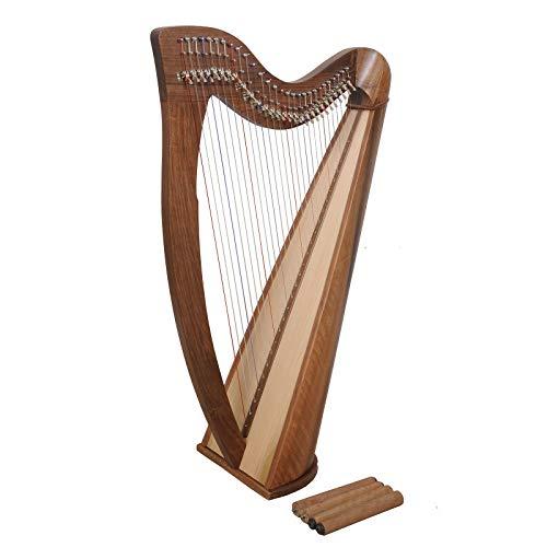 Muzikkon Arpa Claddagh de 28 cuerdas, de nogal irlandés, arpa celta irlandesa, instrumentos musicales
