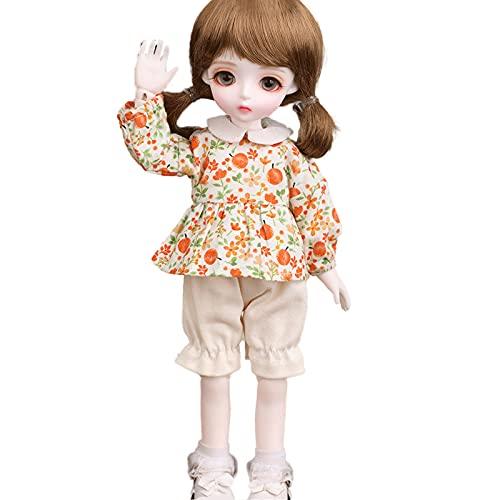 1/6 Bjd Doll 27cm Doble Cola De Caballo Linda Loli Exquisitosimulación Niña SD Muñecas Conjunto Completo Conjuntas Muñecas Cambio De Ropa Zapatos Accesorios-MIU