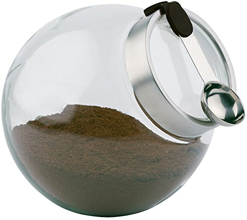 APS Vorratsglas mit Löffel, 20 x 20 cm, Vorratsdose, Aufbewahrungsglas mit aromadichtem Verschluss, Glaskugel mit Löffel, Transparentes Vorratsglas aus Edelstahl, Silikon, Glas, spülmaschinengeeignet