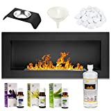GMT - Bioethanol Eco Smokeless Fireplace Black 90x40cm - Indoor Decorative Wall mounted or recessed Fire Heater Chimney - Modern Frame Design - Easy to Mount with Bio Liquid Fuel & Stones & Aroma Oils