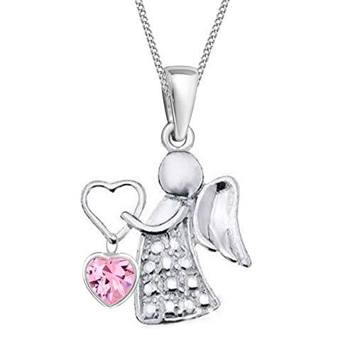 Schutzengel Anhänger mit Kette für Mädchen Frauen 925 Echt Silber Kinder Baby Damen Engel Halskette (2) CZ Rosa)