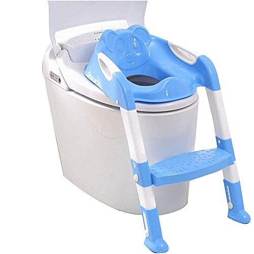 Baby Toddler Potty Toilet Trainer Safety Seat Chair Step with Adjustable Ladder Infant Toilet Training Non-Slip Folding Seat - Blue
